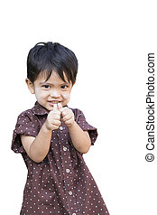 Little boy giving you thumbs up - Portrait of standing...