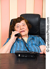 Elderly business woman speaking at telephone in an office...