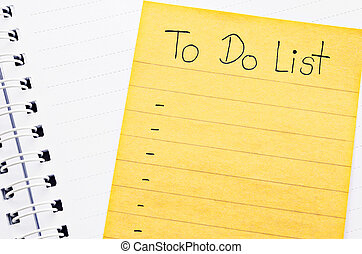 To do list. - Opened personal organizer with a to do list.