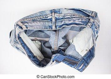 Blue denim short pants - Blue short pants jean with a white...