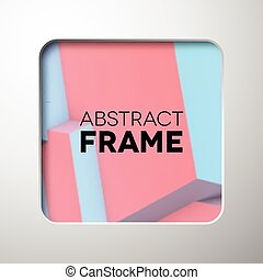 Abstract frame with rose quartz and serenity cubes -...