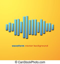 Silhouette of sound waveform with shadow - Silhouette of...