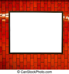 Empty billboard frame on the red brick wall