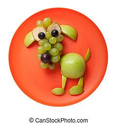 confuso, perro, hecho, de, verde, manzana, en, naranja,...