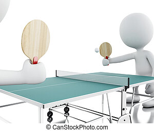 3d White people playing ping pong. - 3d renderer image....
