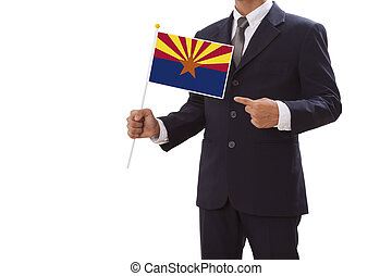 Businessman in suit holding Flag - Businessman in suit...