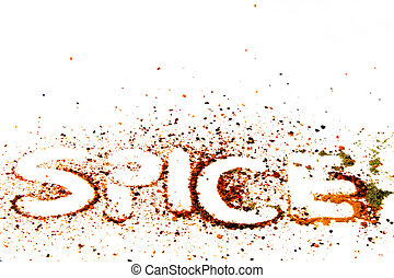 Spice text with spices powder.