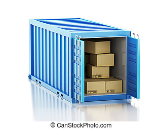 3d Open container with cardboard boxes.