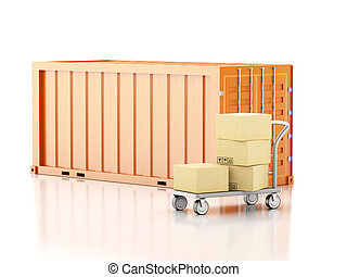 3d Cargo container with cardboard boxes.