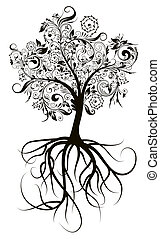 Decorative tree, vector illustration - Decorative tree roots...