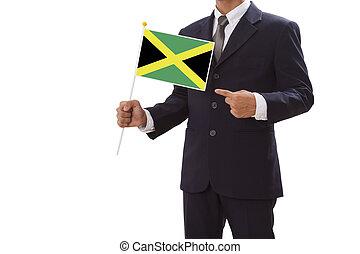 hombre de negocios, mano, actuación, bandera