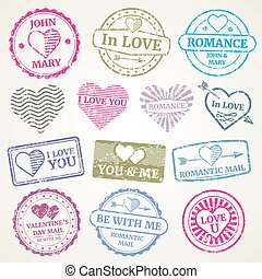 Romantic postage stamp vector set for wedding and Valentines Day post card, invitation design