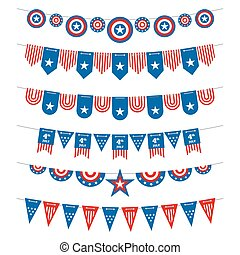 Patriotic bunting american flags garlands for USA independence day 4th july and presidential elections. Vector stock