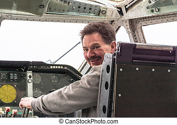 In the cockpit of a vintage aircraft - In the cockpit of an...