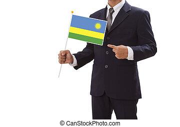 Businessman hand showing Rwanda Flag