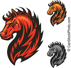 Fire horse with bright flaming mane icon - Fire horse or...