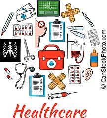Medical and healthcare icons arranged into circle