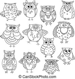 Funny owls and young owlets sketch symbols - Decorative...