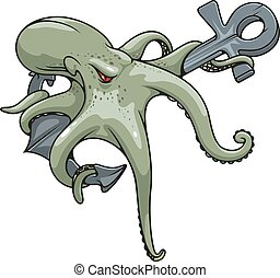 Monstrous octopus twined around anchor symbol - Deadly...