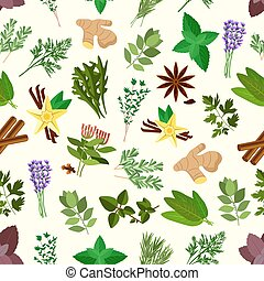 Fresh spicy herbs and condiments seamless pattern background...