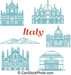 Architecture and nature travel landmarks of Italy