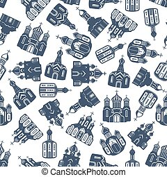 Seamless pattern of eastern orthodox churches - Seamless...