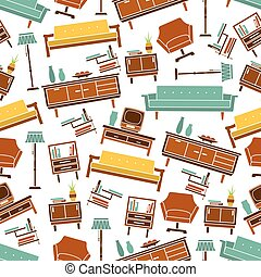 Seamless retro home furniture pattern background - Living...