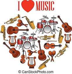 Heart with musical instruments for arts design - Classic...