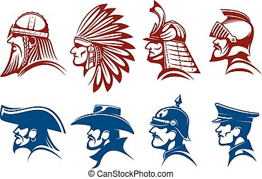 Blue and brown icons of warriors, soldiers symbols