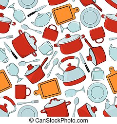 Seamless cooking utensils and tableware pattern - Seamless...