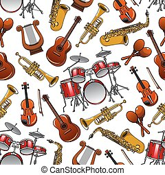 Seamless pattern of orchestra musical instruments - Cartoon...