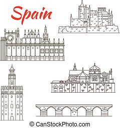 Spanish attractions icon for tourism design - World...