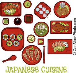 Japanese seafood dinner with dessert sketch icon - Japanese...