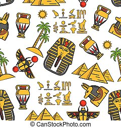 Seamless pattern of ancient egyptian ornaments