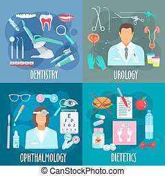 Dentistry, urology, ophthalmology, dietetics icons - Medical...