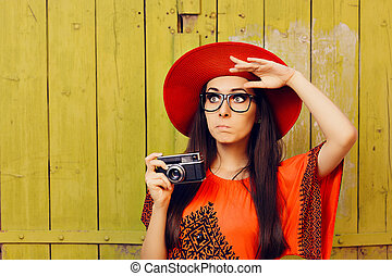 Funny Girl with Retro Photo Camera - Portrait of a surprised...