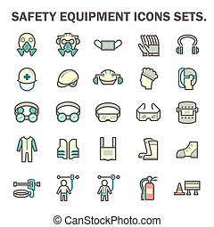 Safety equipment icons - Safety equipment and tool vector...