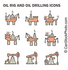 Oil rig icon - Oil rig and oil drilling vector icon sets
