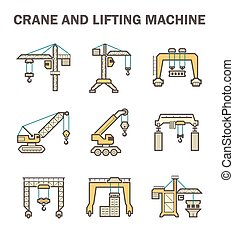 Crane vector icon - Crane and lifting machine icons sets.
