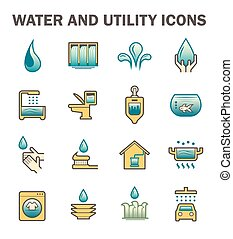 Water usage icon - Water usage and utility vector icon set...
