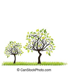 Tree spring background, vector