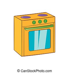 Gas stove icon, cartoon style - Gas stove icon in cartoon...