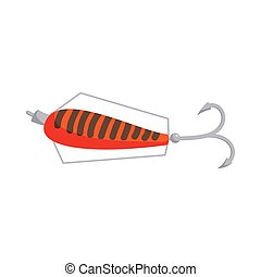 Fishing lure icon, cartoon style - Fishing lure icon in...