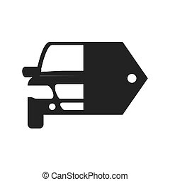Car and label icon Transportation machine design Vector...