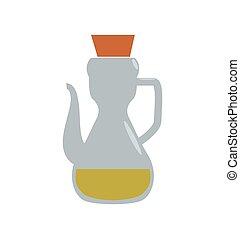 Olive oil inside bottle of glass icon. Jar design.