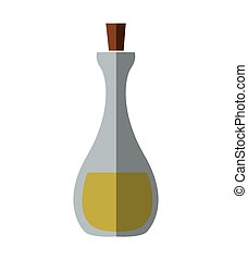 Olive oil inside bottle of glass icon. Jar design. Vector graphi