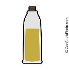 Olive oil inside bottle of glass icon Jar design Vector...