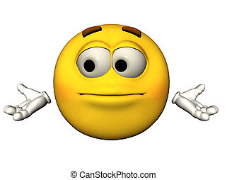 Helpless emoticon - 3D illustration of a helpless emoticon
