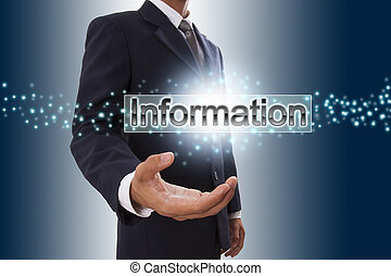 Businessman hand showing information button on virtual screen.