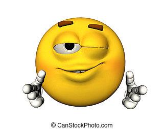 Winking emoticon - 3D illustration of a winking emoticon